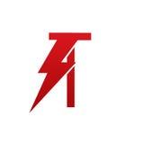 Logotipo eléctrico de la letra T del perno rojo del vector Fotografía de archivo libre de regalías
