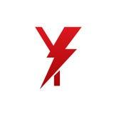 Logotipo eléctrico de la letra Y del perno rojo del vector Imagen de archivo libre de regalías