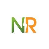 Logotipo eléctrico inicial del vector NR Foto de archivo