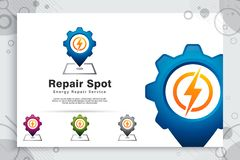 Logotipo elétrico do vetor do ponto do reparo com conceito simples, ilustração criativa do mapa da engrenagem, o elétrico, e do p imagem de stock royalty free