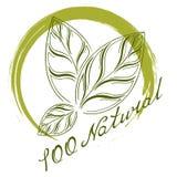 Logotipo el 100% natural Imágenes de archivo libres de regalías