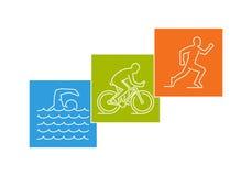 Logotipo elegante para el triathlon en el fondo blanco Imagen de archivo