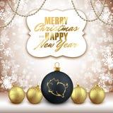 Logotipo en bola decorativa de la Navidad, ji 2019 del Año Nuevo del brillo del cerdo stock de ilustración