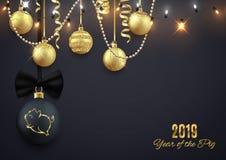 Logotipo en bola decorativa de la Navidad, ji 2019 del Año Nuevo del brillo del cerdo ilustración del vector