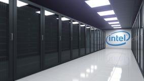 Logotipo en el cuarto del servidor, de INTEL representación editorial 3D ilustración del vector