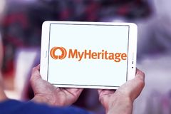 Logotipo en línea de la plataforma de la genealogía de MyHeritage imágenes de archivo libres de regalías