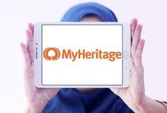 Logotipo en línea de la plataforma de la genealogía de MyHeritage fotos de archivo libres de regalías