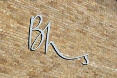 Logotipo en la calle principal, Lincoln, Lincolnshire, Reino Unido de BHS - 5 de abril fotos de archivo