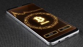Logotipo en la tableta de la PC, del cryptocurrency de Bitcoin ejemplo 3D stock de ilustración
