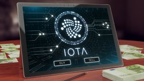 Logotipo en la tableta de la PC, del cryptocurrency de la iota ejemplo 3D libre illustration