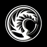 Logotipo en un círculo blanco del fondo negro con una forma abstracta libre illustration