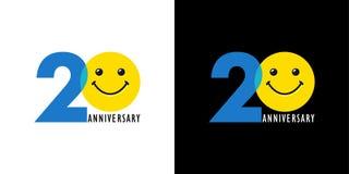 logotipo engraçado de 20 aniversários Imagem de Stock