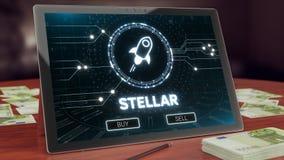 Logotipo estelar do cryptocurrency na exposição da tabuleta do PC ilustração 3D imagem de stock
