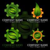 Logotipo estupendo del concepto del engranaje de la hoja Fotos de archivo