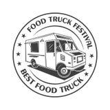 Logotipo, etiqueta, insignia, o emblema del vintage del festival del camión de la comida en estilo monocromático Fotos de archivo