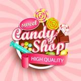 Logotipo, etiqueta o emblema de la tienda del caramelo imagenes de archivo