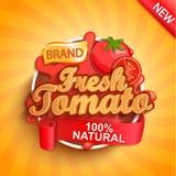 Logotipo, etiqueta o etiqueta engomada fresca del tomate fotos de archivo