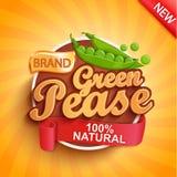 Logotipo, etiqueta o etiqueta engomada verde fresca del pease imagen de archivo libre de regalías