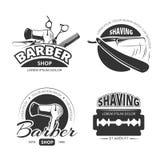 Logotipo, etiquetas e insignias del vector de la peluquería de caballeros del vintage stock de ilustración