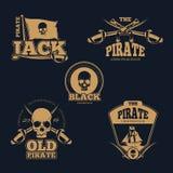 Logotipo, etiquetas e insignias piráticos retros del color Colección del vector del vintage libre illustration
