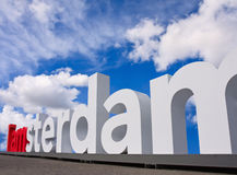 Logotipo famoso de Amsterdão no quadrado do museu, Amsterdão, Netherland Imagem de Stock Royalty Free
