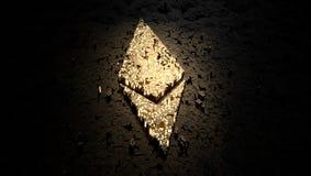 Logotipo feito com partículas brancas do cubo, de Ethereum rendição 3d ilustração royalty free