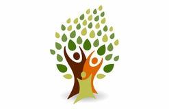 Logotipo feliz da árvore de famílias ilustração stock
