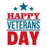 Logotipo feliz do dia de veteranos, estilo liso ilustração stock