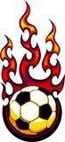 Logotipo flamejante da esfera de futebol Fotografia de Stock