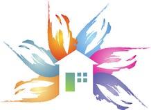 Logotipo floral de la casa Fotos de archivo libres de regalías