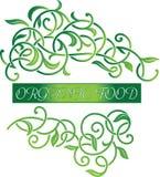 Logotipo floral ornamental del alimento biológico Imágenes de archivo libres de regalías