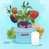 Logotipo fresco da exploração agrícola de Eco da colheita vegetal ilustração royalty free