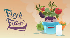 Logotipo fresco da exploração agrícola de Eco da colheita vegetal ilustração stock