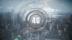 logotipo 4g en un botón con las conexiones de datos libre illustration