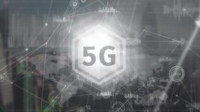 logotipo 5g en un botón con las conexiones de datos en el fondo libre illustration