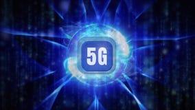 logotipo 5g en un botón rodeado por el círculo ligero azul con las formas que agitan alrededor stock de ilustración