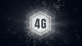 logotipo 4g en un bot?n rodeado por las conexiones de datos ilustración del vector