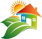 Logotipo home da folha Imagens de Stock