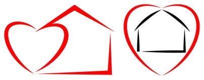 Logotipo home do coração ilustração stock