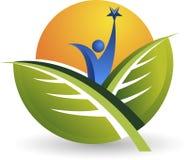 Logotipo humano activo de la hoja stock de ilustración