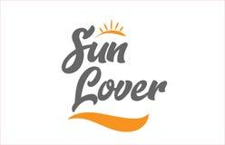 logotipo ic del diseño de la tipografía del texto de la palabra de la escritura de la mano negra del amante del sol stock de ilustración