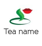 Logotipo, icono, ejemplo para una marca del té con el aislador Imagenes de archivo