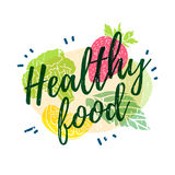 Logotipo, icono, folleto sano de la comida del cartel La decoración de las siluetas de verduras, de frutas y de hierbas Estilo de