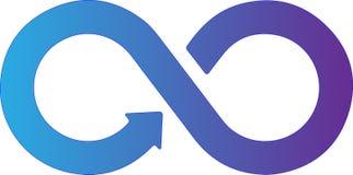 Logotipo infinito abstracto Símbolo infinito en blanco ilustración del vector
