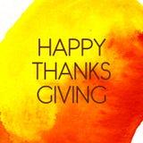 Logotipo, insignia e icono felices del día de la acción de gracias del estilo del diseño de la acuarela Imagen de archivo