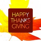 Logotipo, insignia e icono felices del día de la acción de gracias del estilo del diseño de la acuarela Plantilla feliz del logot Imagen de archivo