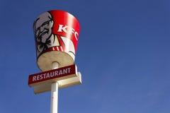 Logotipo internacional da empresa do restaurante do fast food de KFC o 25 de fevereiro de 2017 em Praga, república checa Imagens de Stock