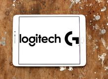 Logotipo internacional de la compañía de la tecnología de Logitech Foto de archivo