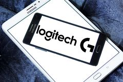 Logotipo internacional de la compañía de la tecnología de Logitech Imagen de archivo libre de regalías
