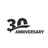 Logotipo isolado do aniversário do preto abstrato 30o no fundo branco logotype de 30 números Trinta anos de celebração do jubileu Imagens de Stock
